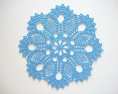 Crochet Doily Blue Cotton Lace Flower Center and Large Fan Edge with Picos Heirloom Quality