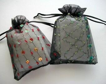 Organza Drawstring Bag Handbeaded Gift Bags Black Sheer Organza Drawstring Bags 2 pieces