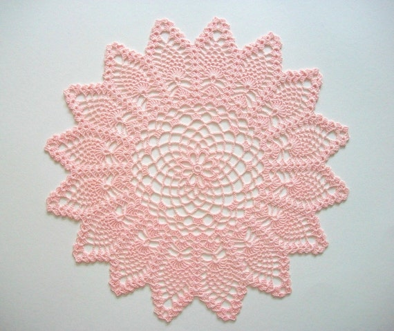 Pink Crochet Doily Traditional Pineapple Pattern Heirloom Quality