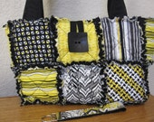 Quilted Rag Purse, Handbag, Bag - Fully Lined - Including Matching Key Fob - Somerset