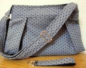 SALE - Cross Body Hobo Purse, Pleated Diaper Bag, Handbag, Nook, Kindle, Ipad Cover, Case, Gray with Black Polka Dots