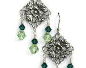 Green Swarovski Crystal Chandelier Earrings, Wedding Jewelry, Gifts for Women Mom Wife Sister Daughter Grandma Under 20, Stocking Stuffers