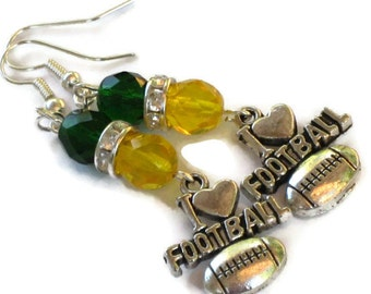 Green Bay Packers Inspired Earrings, Gifts for Women Under 25, Football Sports Jewelry, Gifts for Mom Wife Sister Daughter Grandma Teacher