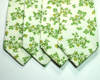 Sale, Green Floral Mens Cotton Neckties - 17 each or 2 for 30 - 7 available