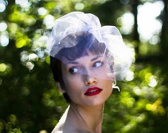 Birdcage Veil, Wedding Veil, Blusher Veil, Mini Tulle Veil, Bachelorette Veil, Short Veil, White Veil, Ivory Veil, Champagne Veil, Black