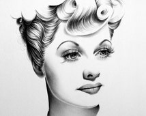 Lucille Ball Pencil Drawing Portrait Fine Art SIgned Print