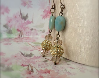 Amazonite Gemstone Earrings Light Blue Gold Pave Bead Drop Earrings Boho Reiki Blessed Wellbeing Jewelry - Express Yourself
