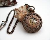 Copper Pocket Watch, Arabic Mechanical, Pocket Watch Chain - 7th Anniversary - Steampunk - Watch - Groomsmen Gift - Watch - Item MPW781