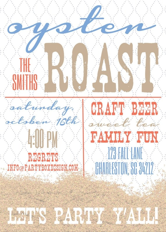 Oyster Roast Party Invitations 20 printed 5x7 by ...