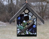 STAINED GLASS Mosaic Birdhouse in WHITE and Purple flowers with small ceramic tile accents Custom built for You