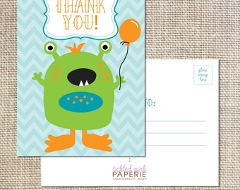 Thank you postcards to match your cute little monster party