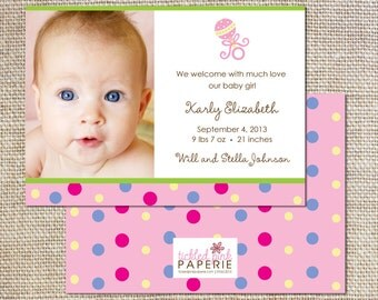 Birth announcement with polka dots and custom photo