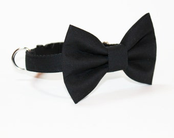 Dog Collar- Wedding Bow Tie Dog Collar- Black Tie- Bow Tie Dog Collar