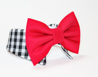 Dog Bow Tie- Shirt and Bow Tie Collar-  Wedding Dog Tie- Gingham- Red and Black