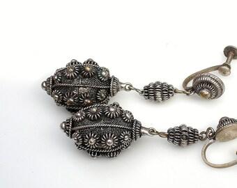 Silver Cannetille Filigree Earrings - Etruscan Persian