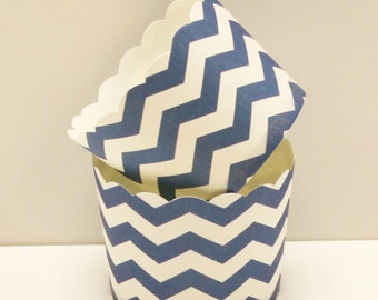 Candy Cup, NAVY CHEVRON Candy / Nut Cup, Party, Nautical, Baking Cups, Packaging, Baby Shower, Wedding, Birthday, Boys, Preppy, Cupcake Cups