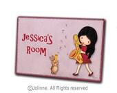 Girl playing the saxophone , Children room door sign, personalized art