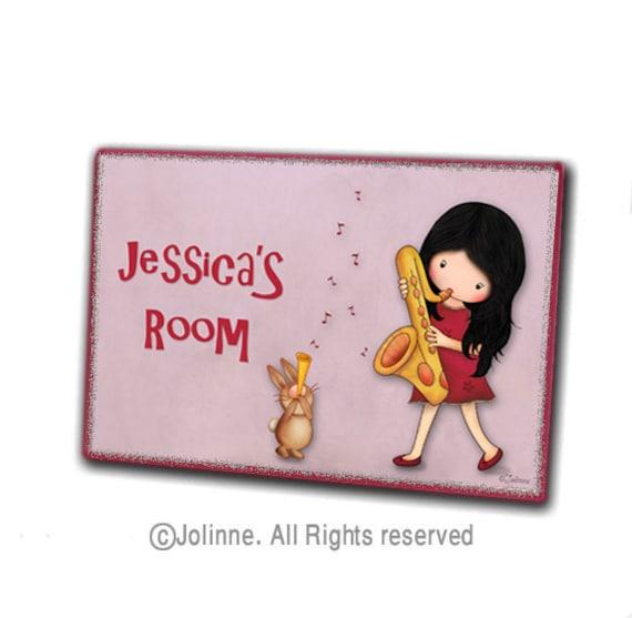 Personalized kids door sign - childrens art, kids room door plaque, music