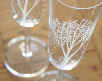 Pair of Crystal Champagne Glasses, Blossom Trees, Hand Engraved, Toasting Glasses