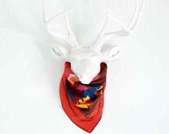 Vintage Square Scarf - Mod Orange Retro Bandana - Colorful Pattern Head Scarf