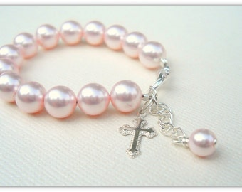 MORE COLORS Flower Girl Baptism Confirmation Cross Bracelet with Swarovski Pearls