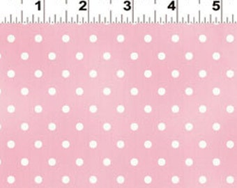 oop htf Guess How Much I Love You Fabric by Clothworks White Polka Dots Dot on Light Pink 2013 y1266-42