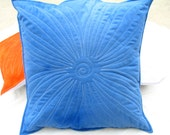 Hand Dyed Sky Blue Quilted Flower Throw Pillow