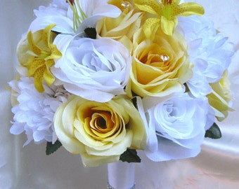 """Wedding Bouquet Bridal Silk flowers YELLOW WHITE LILY Decoration 17 pieces Package Free shipping centerpieces """"Roses and Dreams"""""""