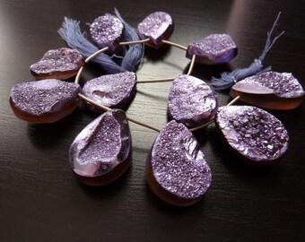 1/2 Strand - Large Lavender Metallic Purple Druzy Pendants  (No. 1546)