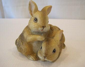 Vintage HOMCO Brown Bunny Rabbit Pair Figurine 1455 Porcelain Bisque