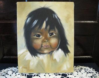 Adorable Vintage Eskimo Child Oil Painting Canvas Unframed