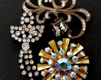Magnificent trio of antique brooches - 1950/1960 - mix brooches-small collection of antique brooches-Italian Vintage broochs-.Art.799/2 -