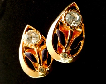 Drop Earrings 1960 Italian - gold, purple enamel, crystals - a flower jewel - Art.48/2-