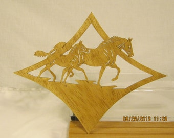 MARE and FOAL HORSES in Diamond Shape Scroll Scroll Saw Plaque