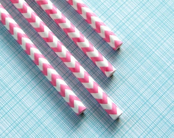 Pink Chevron Paper Straws Mix - Pink Zig Zag Paper Straws - with DIY Flags (25)