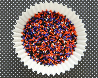Midnight Mix Halloween Nonpareils - Black, Orange, Purple and White Sprinkles (2 ounces)