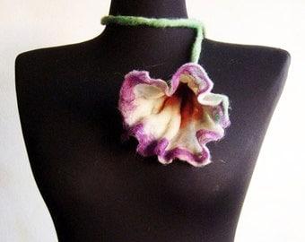 felt flower fiber white necklace lariat
