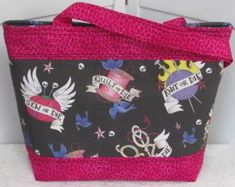 Crafty Tattoo Large Tote Bag Pink and Black Rockabilly Purse Ready To Ship