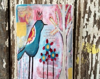 bird art block,dream,ACEO  Reproduction Mounted On Wood Block by Sunshine Girl Designs (2.5 x 3.5 Inches Print)