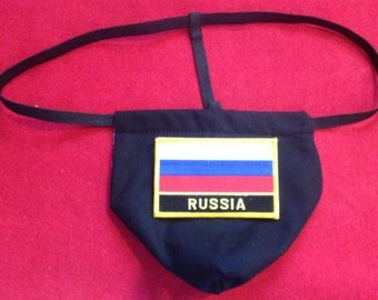 Mens RUSSIA Winter Olympics G-String Thong Male Soccer World Cup Lingerie Country Underwear