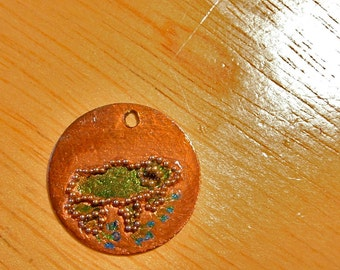 Frog Engraved and Painted Metal Charm Medallion