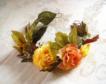 Flower crown floral, yellow, brown, woodland wedding, head piece, bridal accessory