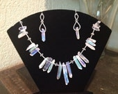 Frozen - Wedding - Love quartz crystal silver iridescent Necklace and Drop Earring Set