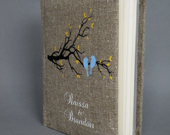SALE ~ 15% Wedding rustic  photo album burlap Linen Bridal shower anniversary Blue birds on the tree branch and yellow leaves