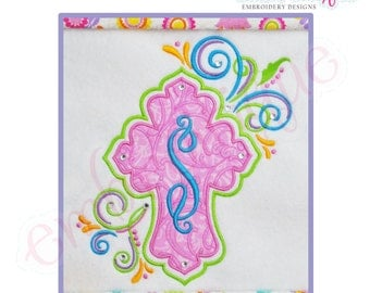 Curly Cross Applique - Small -Instant Download Digital Files for Machine Embroidery