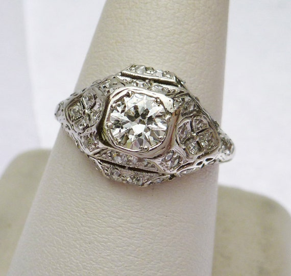 Items similar to Platinum Antique Diamond Engagement Ring on Etsy