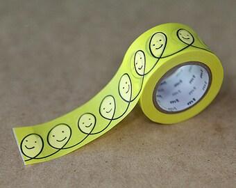 Smile Yellow, Mina Perhonen - Japanese mt Washi Paper Masking Tape, Adhesie Tape, Kawaii Collage, Journal, Gift Wrapping - mtmina09