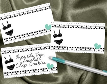 10 Blank Table Cards, Place Cards, Food Label Cards, Bridal Shower, Bachelorette Party, Lingerie Party, Lots of Colors