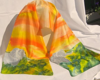 "Silk Scarf,Hand Designed, Yellows, Orange,Green,Gray, Elephants,""Walk On The Wild Side"",or  Table Runner"