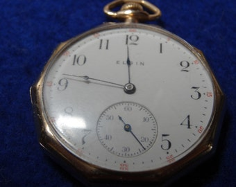 1911 Elgin 12 Size Gentlemen's Gilded Movement Pocket Watch